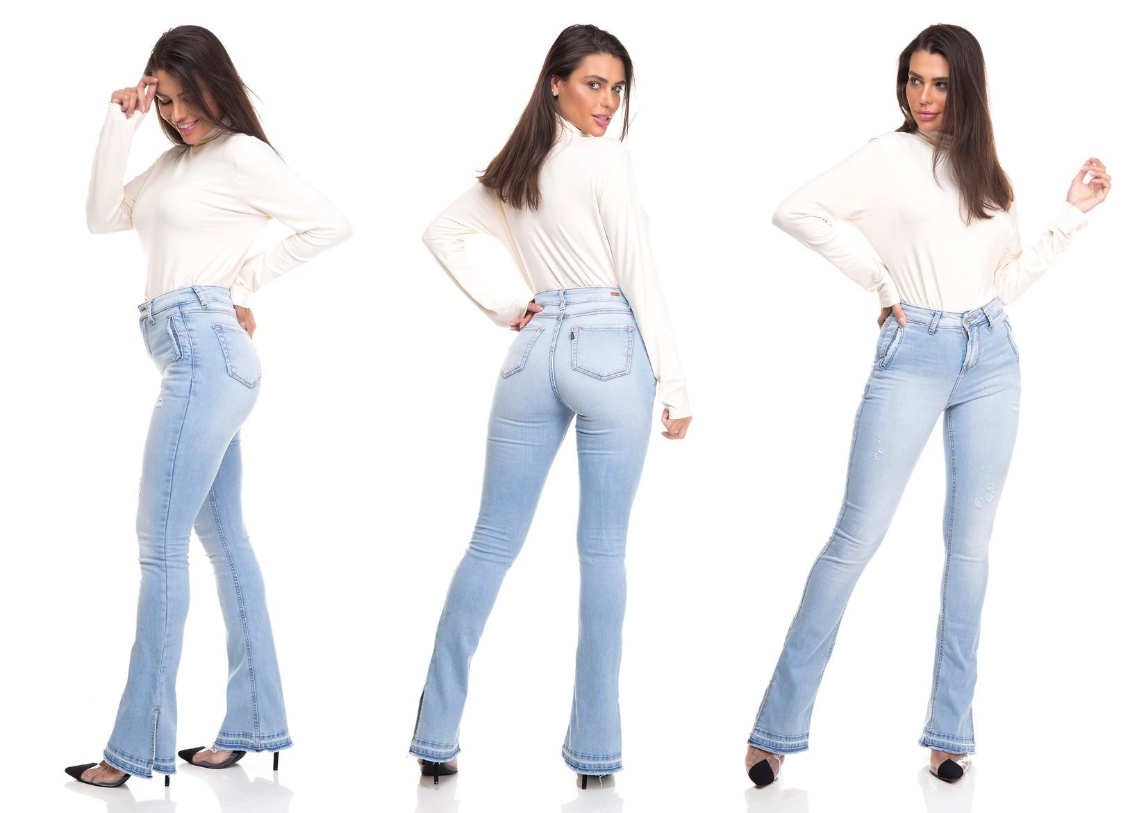 dz3381 calca jeans feminina new boot cut bolsos embutidos denim zero tripla 02